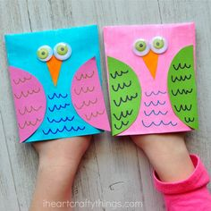 Adorable Envelope Owl Craft Puppets