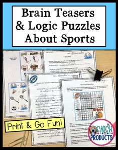 Teachers, find fun logic puzzles, brain teasers narrative writing activities in printables for kids. Cute sports theme challenges for hard critical thinking reasoning whole small group classroom middle school, distance learning or home school. Difficult problem solving brain teasers with answers are easy to print. Printable hard grid worksheets for 5th grade, 6th or 7th are awesome funny. Einstein or early finishers will love it. (Level 5, 6, 7) #TpT #iteachtoo #education #teachers #iteach