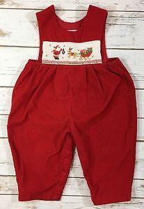 ebaa2ba83b1f House of Hatten Red Corduroy Smocked Christmas Santa Longall One-Piece Boy