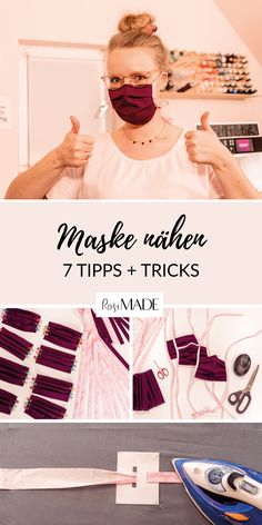 Make makeshift mask quickly and effectively: 7 tips and tricks - RosiMADE - Makeshift mask sew quickly and effectively. With these 7 tips and tricks you can sew an oral nose m - Sewing Hacks, Sewing Crafts, Sewing Projects, Diy Mask, Diy Face Mask, Fat Quarter Projects, Crochet Mask, Nose Mask, Homemade Face Masks