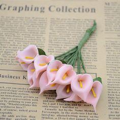 12ピース/バンチpeフェイク花オランダカイウ花ミニ花の装飾ドライフラワー