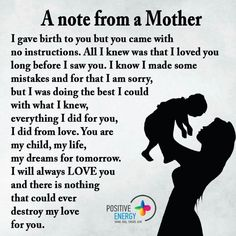 A mothers note, I know I made some mistakes & for that I am sorry. But I was doing the best I could with what I knew. Everything I did for you. I did from love, you are my child, my life. I will always love you & there is nothing that could ever destroy my love for you.