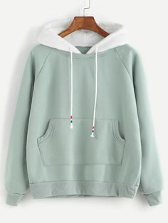 Pale Green Raglan Sleeve Pocket Sweatshirt With Contrast Hood -SheIn(Sheinside)