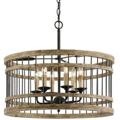 Troy Lighting TF4858 Vineyard Entrance / Foyer Pendant Light - Rusty Iron / Sal Wood