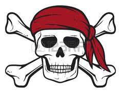 pirate skull, red bandana and bones  pirates symbol, skull and cross bones, skull with crossed bones