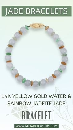 This Mason-Kay one-of-a-kind water jade bead bracelet is stung with multi-color jade roundels and finished with a14K yellow gold fish hook clasp. The bracelet is 7-1/4 inches long. Use discount code INSTA10JORDAN at checkout! Jade Bracelet, Bracelets, Gold Water, Bracelet Patterns, Bracelet, Arm Bracelets, Bangle, Bangles, Anklets