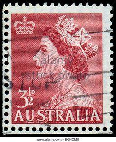 AUSTRALIA - CIRCA 1953: A stamp printed in Australia shows Queen Elizabeth II, circa 1953 - Stock Image