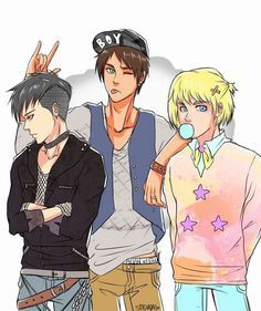 Levi punk, Armin pastel goth and Eren hipster