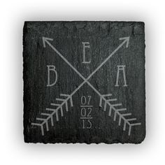 Square Slate Coasters (set of 4)  - Two Arrows Crossing Design Personalized with Monogram and date