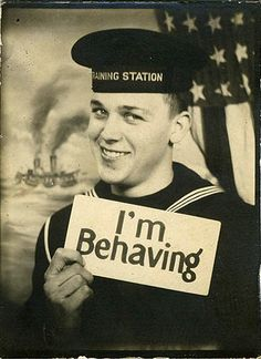 Sorry sailor, somehow I just can't quite believe you ;D #vintage #1940s #forties #WW2 #sailor #navy #military #man #portrait #funny