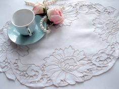 Doily Embroidered Open Cutwork Shabby Chic by mailordervintage