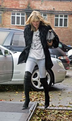 Over the knee boots and washed out denim