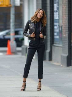 Jourdan Dunn was photoshoot ready dressed in black as spied in New York City.