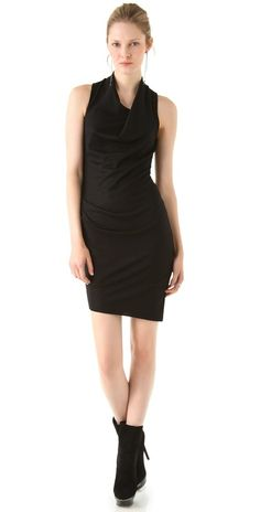 Helmut lang Sonar Wool Sleeveless Dress in Black