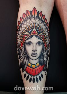 71b4f8101 girl with indian headdress tattoo by dave wah at stay humble tattoo company  in baltimore maryland