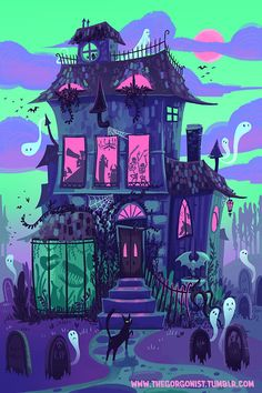 Haunted House Neon Monster Party Nächte 12 x 18 Kunstdruck Poster - HOLIDAYS : halloween Ѽ.Ѽ - halloween art Image Halloween, Halloween Poster, Halloween House, Halloween Prints, Preschool Halloween, Halloween Artwork, Halloween Pictures, Halloween Illustration, Halloween Backgrounds