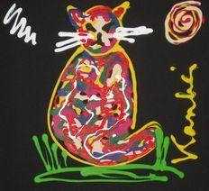 Jacob Kanbier - Cat on black Cats, Modern, Painting, Black, Gatos, Trendy Tree, Black People, Painting Art, Paintings