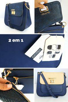 Pra quem gosta de variar o visual sem trocar tudo que tem dentro da bolsa! Com a bolsa 2 em 1 você altera a cor da aba superior.