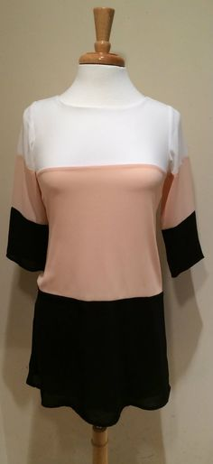 Colorblocking. Cute peach, white, and black $55