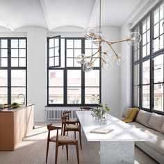 Elbow Chairs in modern Scandinavian loft apartment. Light by Lindsey Adelma… - Modern Dining Corner, Kitchen Dinning Room, Open Kitchen, Home Design, Interior Architecture, Interior And Exterior, Oscar Properties, Scandinavian Loft, Studios