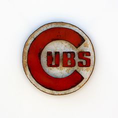 """Chicago CUBS wall art logo 12"""" diameter - white and red with rust patina - indoor outdoor. $79.00, via Etsy. Baseball Nursery, Burger King Logo, Art Logo, Chicago Cubs Logo, Indoor Outdoor, Rust, Babies, Wall Art, Sports"""