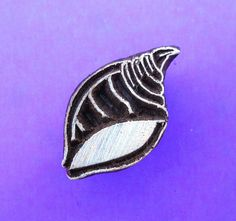 Seashell Wood Stamp Hand Carved Fabric Textile Pottery Clay