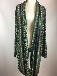 Double D Ranch Tribal Print Kimono Duster Size 1X Turquoise Brown Ivory  | eBay