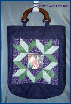 Handmade Stunning Quilt Block Photo Pocket Tote by KLeesKreations https://www.etsy.com/listing/89093533/handmade-stunning-quilt-block-photo?ref=shop_home_feat_2