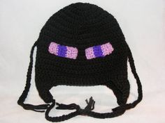 Etsy $20.00 Minecraft Enderman Hat - Crocheted with ear flaps