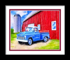 Tales From The Farm Framed Print By Mark Tisdale - Classic 1955 Chevy Pickup Truck next to an old red barn