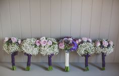 Wedding Bouquets at Combermere Abbey. Hydrangea, Roses, Gypsophila, Pink, Purple, Vintage, Pastel, Lilac