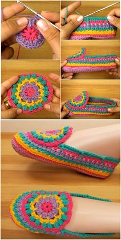 Crochet Colorful Slippers Craft Ideas Crochet Colorful Slippers Craft Ideas T . - Crochet Colorful Slippers Craft Ideas Crochet Colorful Slippers Craft Ideas This image has get 5 re - Crochet Slipper Boots, Crochet Slippers, Crochet Motifs, Crochet Stitches, Crochet Squares, Crochet Crafts, Crochet Projects, Diy Crochet, Diy Crafts