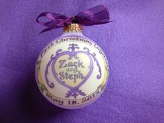 First Christmas Together, Personalized Ornament, Damask Design, choice of color, Totally Original, Handpainted, Custom by BarbziesCustomArts on Etsy