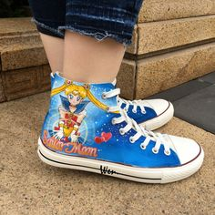 Wen Blue Anime Hand Painted Shoes Sailor Moon Men Women's Sneakers Design Custom High Top Canvas Sneakers For Boys Girls