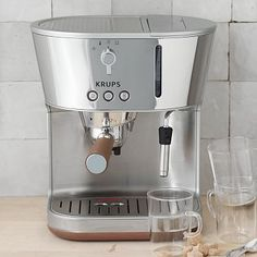 Krups Espresso Machine >> stunning combination of stainless steel + chrome & wood details. AND, a surprisingly reasonable price point!