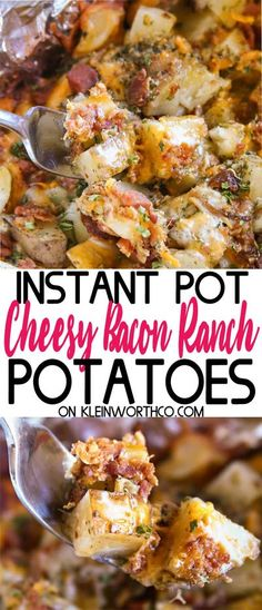 Cheesy Bacon Ranch Potatoes are a simple & easy to make slow cooker recipe. With just 5 minutes of prep, this cheesy potato goodness is great with dinner! #cheese #bacon #ranch #potatoes #instantpot #pressurecooker #slowcooker #cheesybaconranchpotatoes #sidedish #easydinner #easyrecipes #holiday #dinner