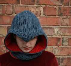 This is a nice hood.  Assassin's Creed Cowl Crochet Pattern by EmeraldCostumes on Etsy $5.50