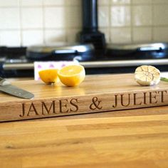 Your names on a chopping board