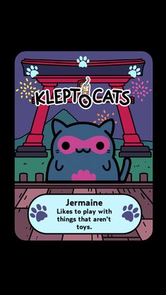 "Here's my new friend ""Jermaine"" #KleptoCats @HyperBeard #iOS www.kleptocats.com/share"