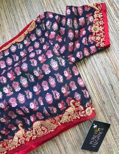 Beautiful peacock applique embroidered details on kalamkari crop top