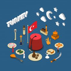 Turkey Cultural Isometric Symbols Composition, Turkish cultural isometric symbols composition poster for travelers with traditional sweets landmarks and red tassel hat vector illustration. Editable EPS and Render in JPG format Hat Vector, Vector Pattern, Vector Free, Creative Flyer Design, Creative Flyers, Traditional Italian Pizza, White Wooden Floor, Food Icons, Chalkboard Background