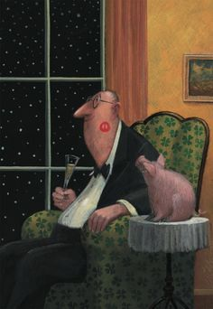 "Schweinbacke: Illustration by Gerhard Glück  "" did that pig kiss you again""  LOL"