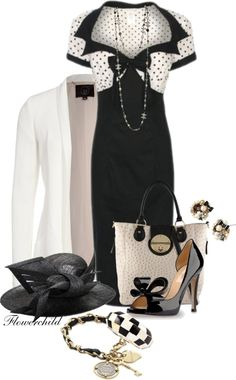 """Black and White Day Fashion"" by flowerchild805 ❤ liked on Polyvore"