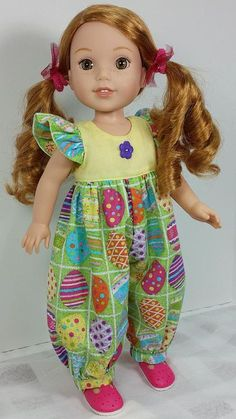 Free Patterns for American Girl Dolls Easter Dress - Bing images American Girl Outfits, American Doll Clothes, Sewing Doll Clothes, Girl Doll Clothes, Girl Dolls, American Girl Wellie Wishers, Wellie Wishers Dolls, Doll Dress Patterns, Little Doll