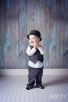One Year Old Cute Baby Boy Hat and Tie Jeans Studio Photo