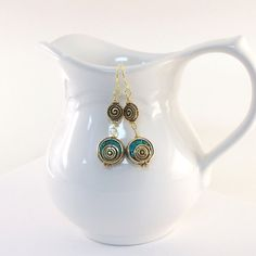 Tibetan Swirl Earrings Turquoise Antique Gold by CinLynnBoutique, $21.00