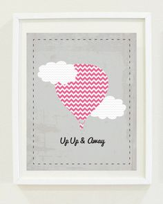 Nursery Print: $5.00, via Etsy. Pink Chevron with light blue background. Love font number 4 :)