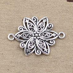 99Cents 4pcs Charms flower connector 39*28mm Antique Making pendant fit,Vintage Tibetan Silver,DIY bracelet necklace