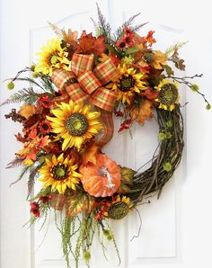 Fall Wreaths for Front Door Pumpkin Wreath Fall Wreath
