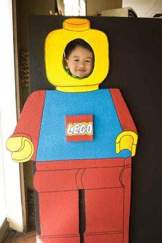 Use cardboard to make a Lego photo booth.